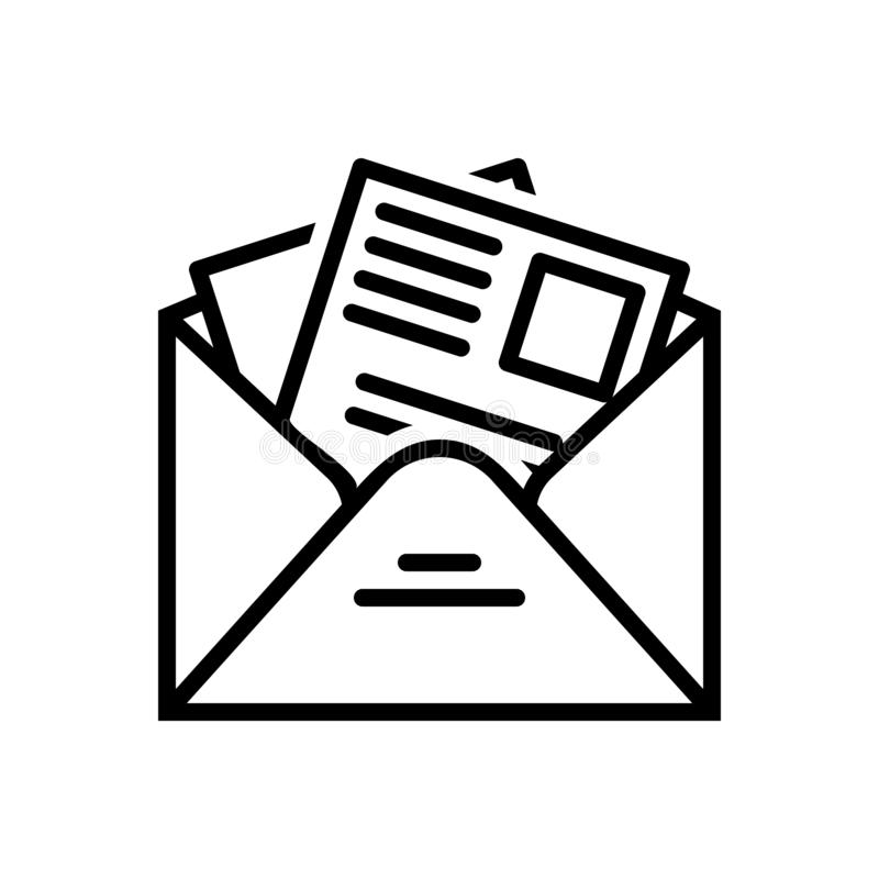 Black line icon for Newsletter, template and news royalty free illustration