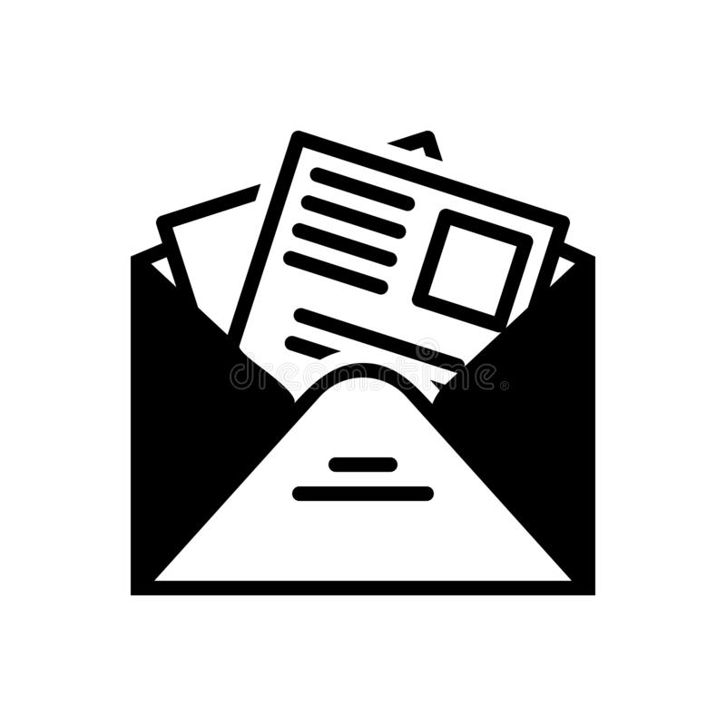 Black solid icon for Newsletter, template and news. Black solid icon for Newsletter, subscription, publication, information,  template and news vector illustration