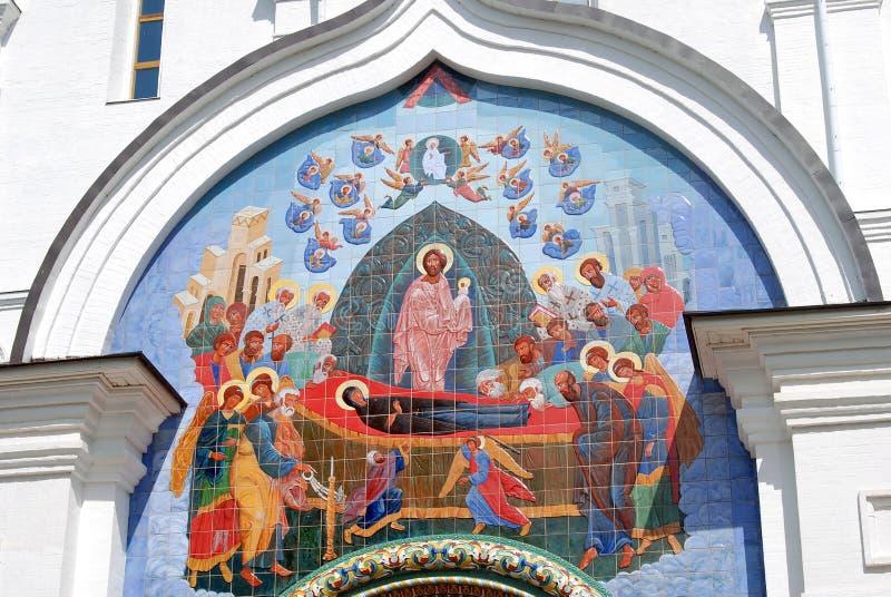 Icon non the Assumption Church facade in Yaroslavl. Russia. A popular touristic landmark royalty free stock image
