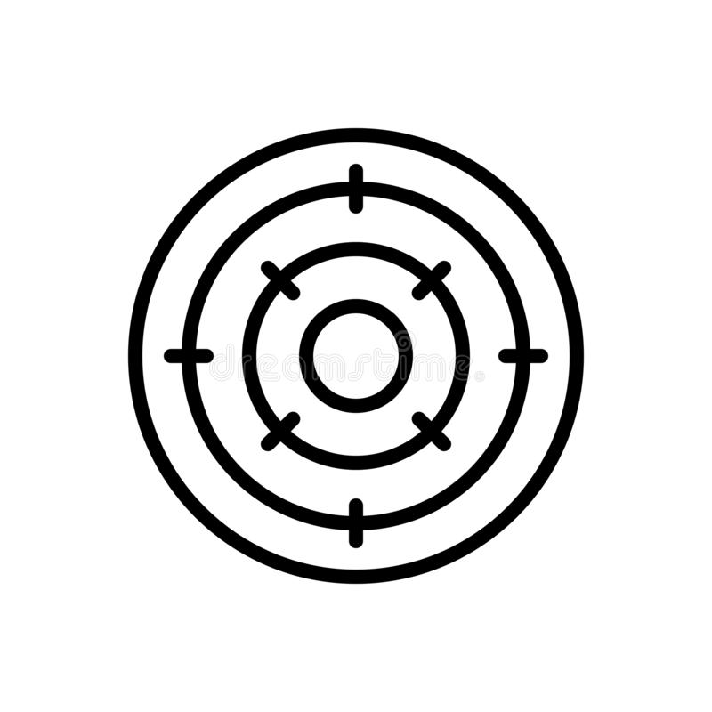 Black line icon for Objective, purpose and achievement. Black line icon for Objective, analysis, bullseye, challenge,  purpose and achievement vector illustration