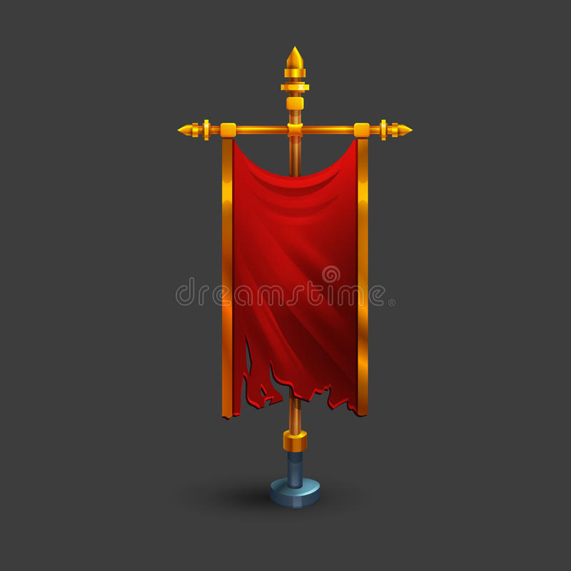 Free Icon Of Medieval Vertical Red Flag With Flagpole For Game. Royalty Free Stock Images - 92792629