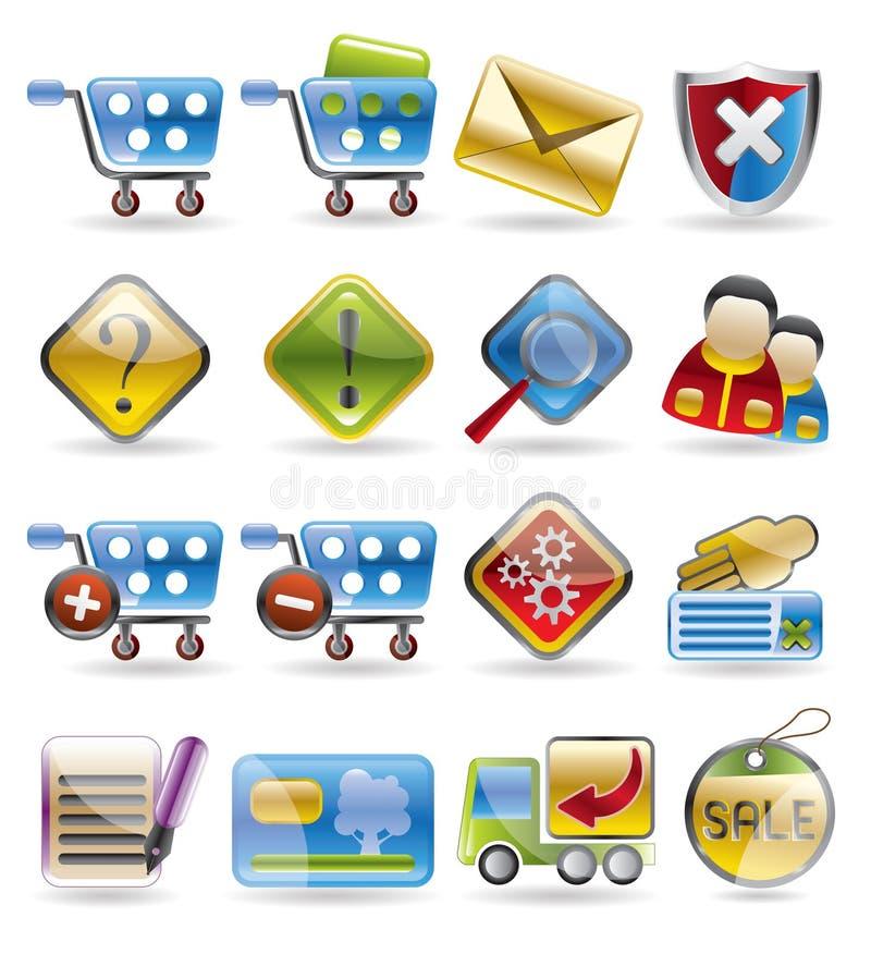 icon online set shop 皇族释放例证