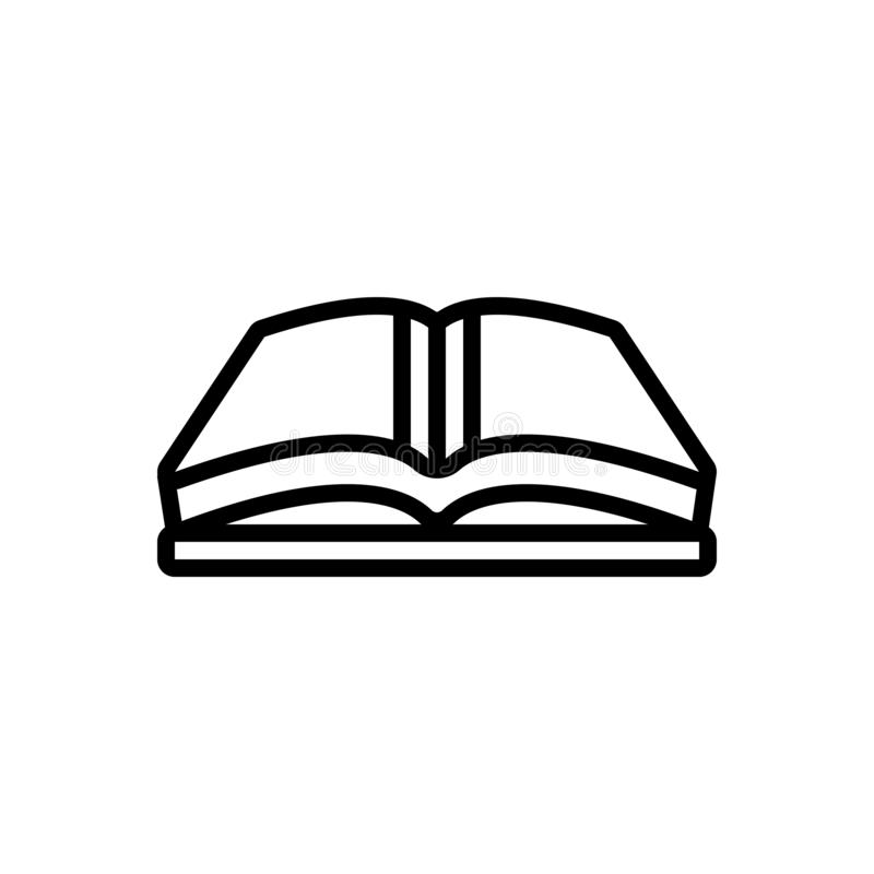 Black line icon for Open Book, book and magazine stock illustration