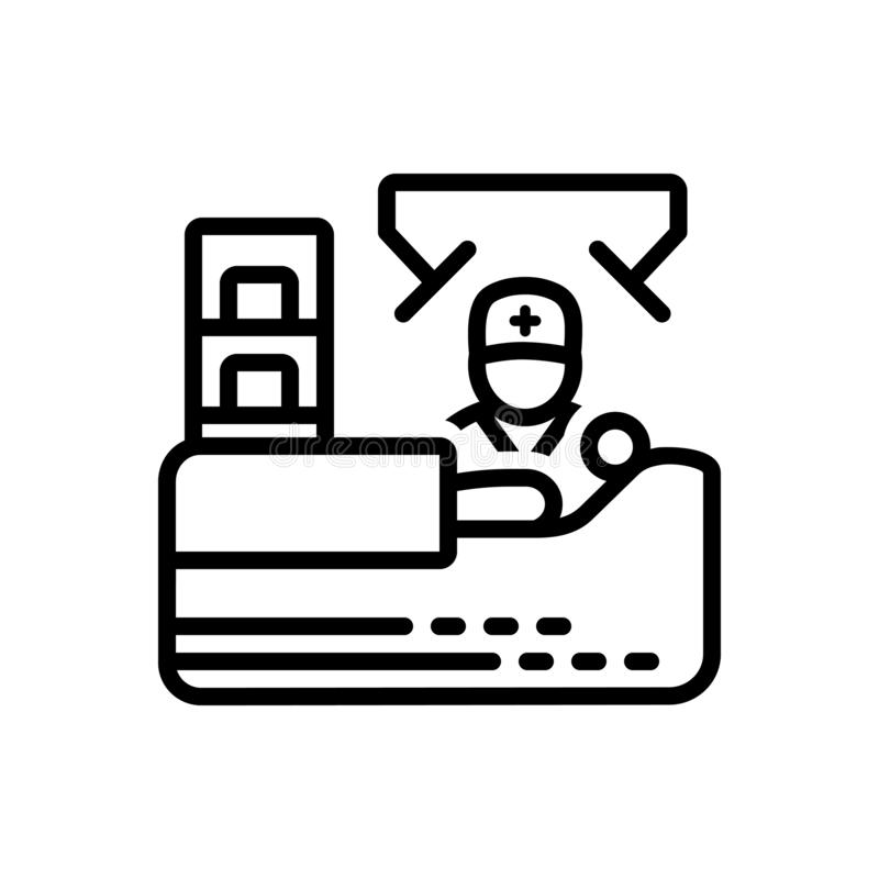 Black line icon for Operation, manipulation and surgery royalty free illustration