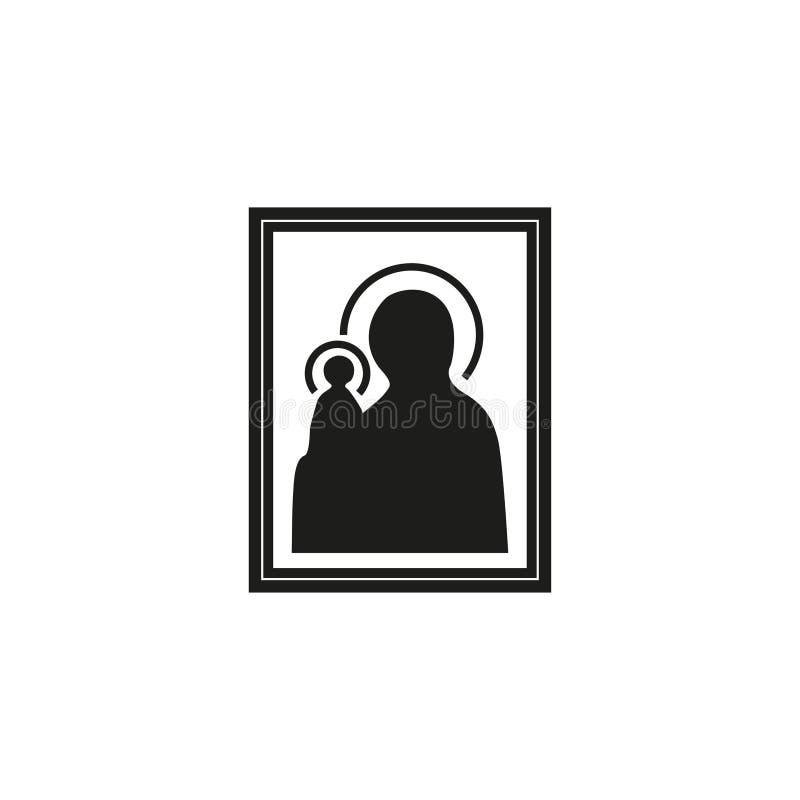Icon of Our Lady of Orthodoxy Catholicism. Illustration in flat, EPS 10 stock illustration