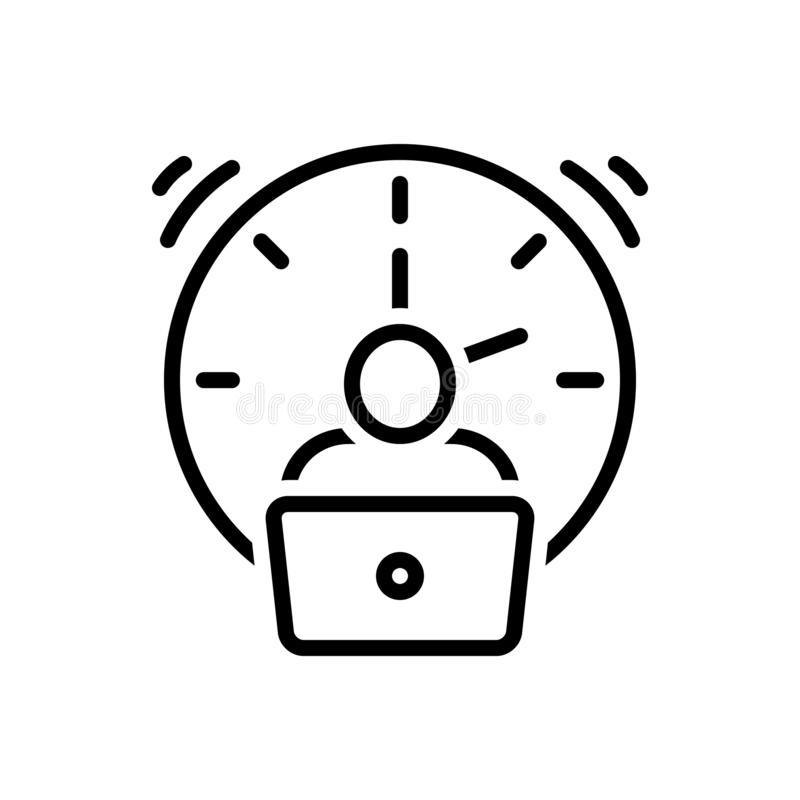 Black line icon for Overtime, extra and fatigue. Black line icon for Overtime, tired, exhausted, working, pile, clock,  extra and fatigue vector illustration