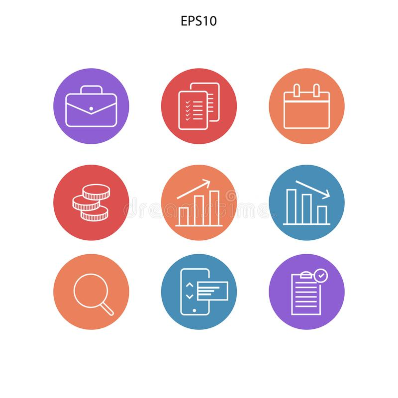 icon pack for management economi royalty free illustration