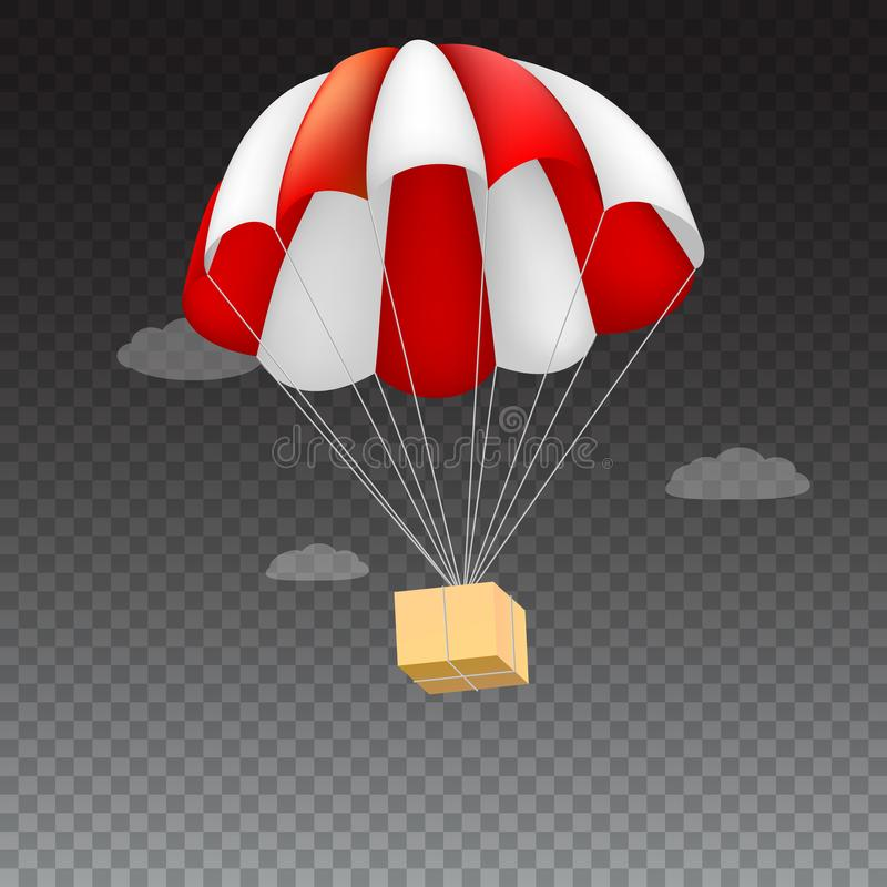 Icon of package flying on red parachute on a background of clouds. Air shipping, delivery service template, 3D stock illustration