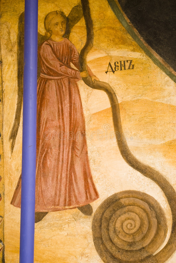 Icon paintings in monastery interior stock photos