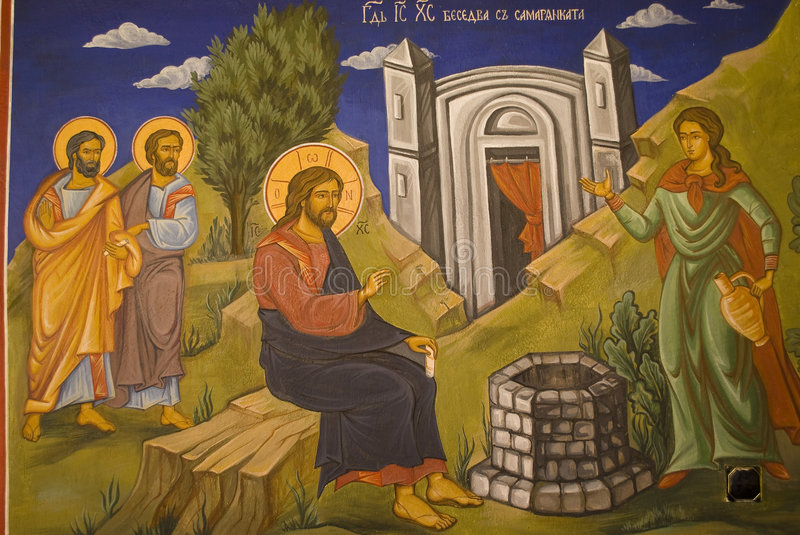 Icon paintings in monastery interior stock illustration
