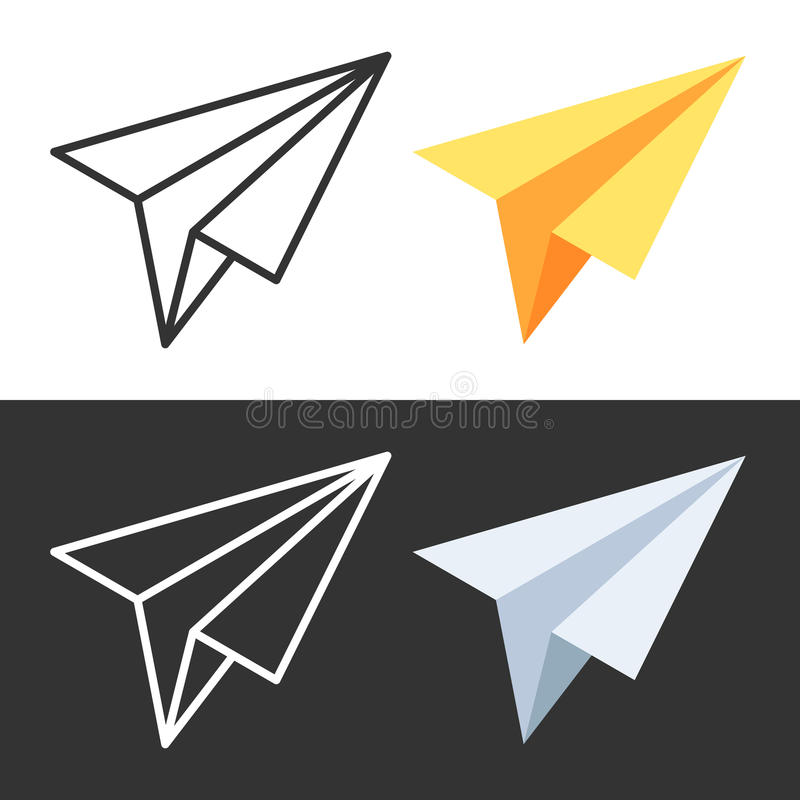 Icon paper airplane. Vector illustration in isometric and linear style isolated on white and dark background stock illustration