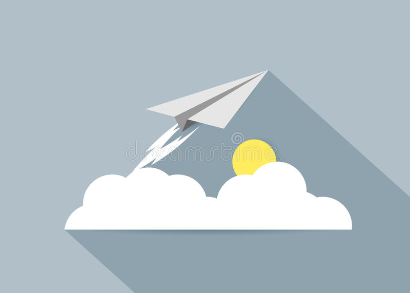 Icon. The paper plane and clouds with the sun stock illustration