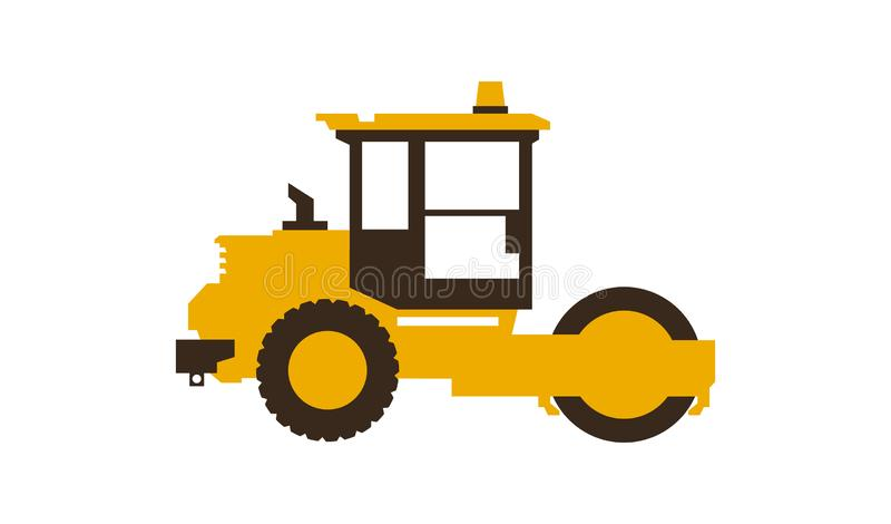Icon paver. Men at work. Construction machinery. Vector illustration. Sleek style. vector illustration