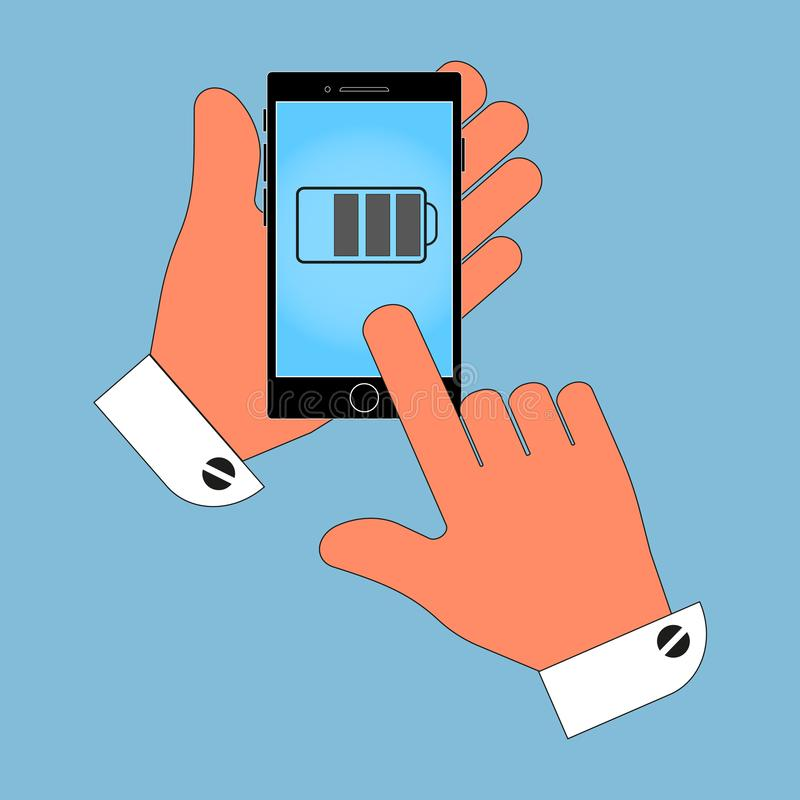 Icon phone in hand, on screen battery, charge, isolated on a blue background. vector illustration