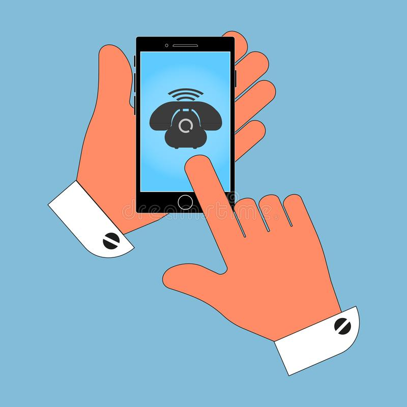 Icon phone in his hand on the phone screen, isolate on blue background. vector illustration