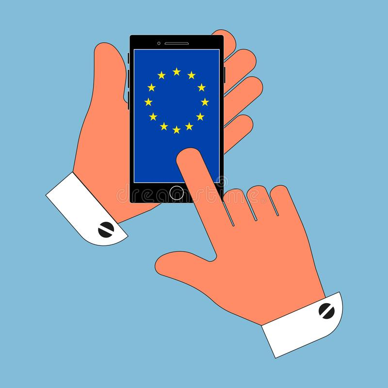 Icon phone in his hand on the screen flag of the European Union, the isolation on a blue background. Stylish vector illustration vector illustration