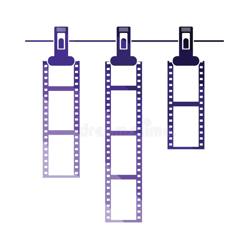 Icon of photo film drying on rope with clothespin royalty free illustration