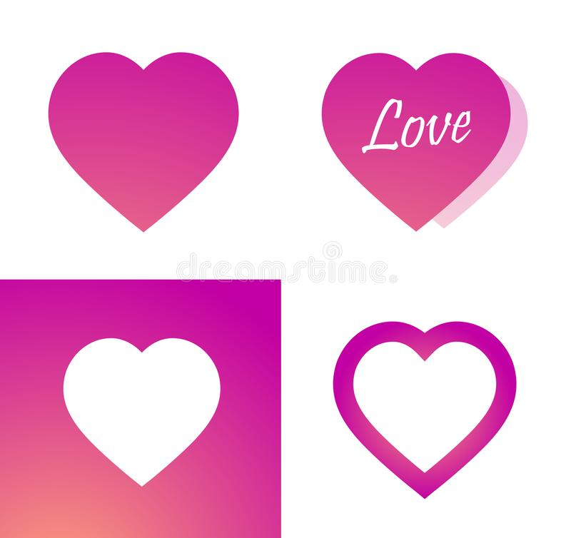 Icon of pink heart - Sticker with Love symbol on white and rose background - Vector. Icon of pink heart. Sticker with Love symbol on white and rose background royalty free illustration