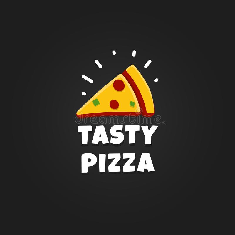 Icon of Pizza slice. Modern Pizzeria logo template. Italian Food Restaurant Emblem. Fast food cafe logotype design vector illustration