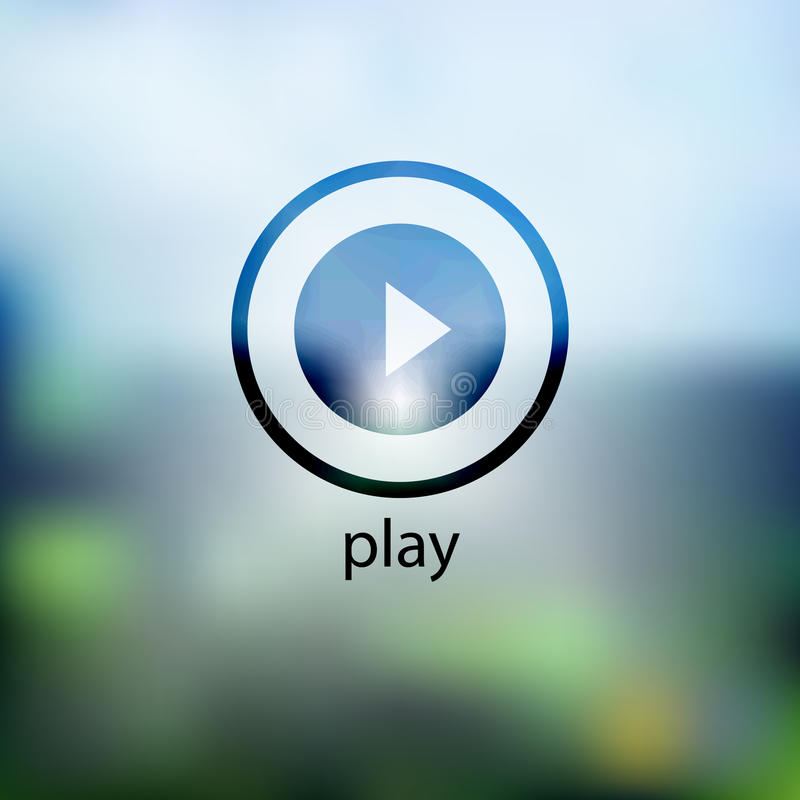 Icon play. on background blurred royalty free illustration
