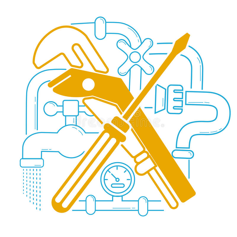 Icon Plumbing in the linear stock illustration