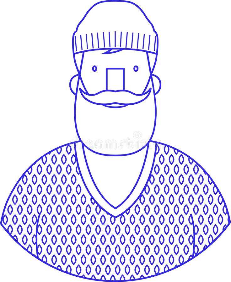 Icon portrait blue sign of bearded hipster with wool cap vector illustration