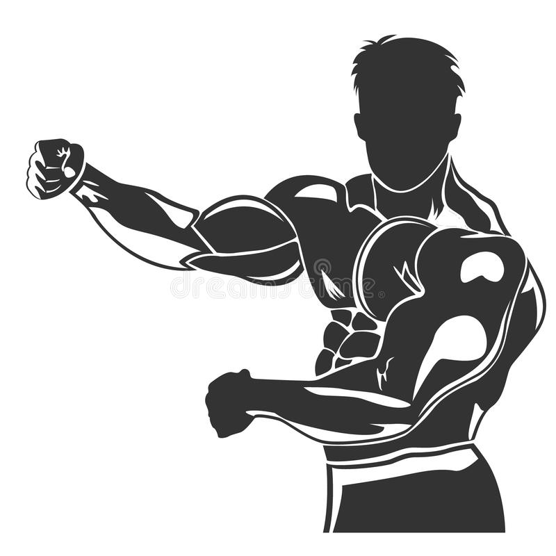 Icon of posing bodybuilder, vector illustration. Vector illustration of posing bodybuilder royalty free illustration