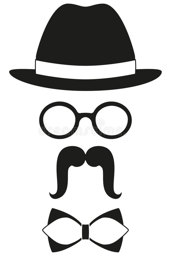 Icon poster man father dad day avatar element set hat glasses mustache bow tie silhouette. Icon poster man father dad day avatar elements set hat glasses stock illustration