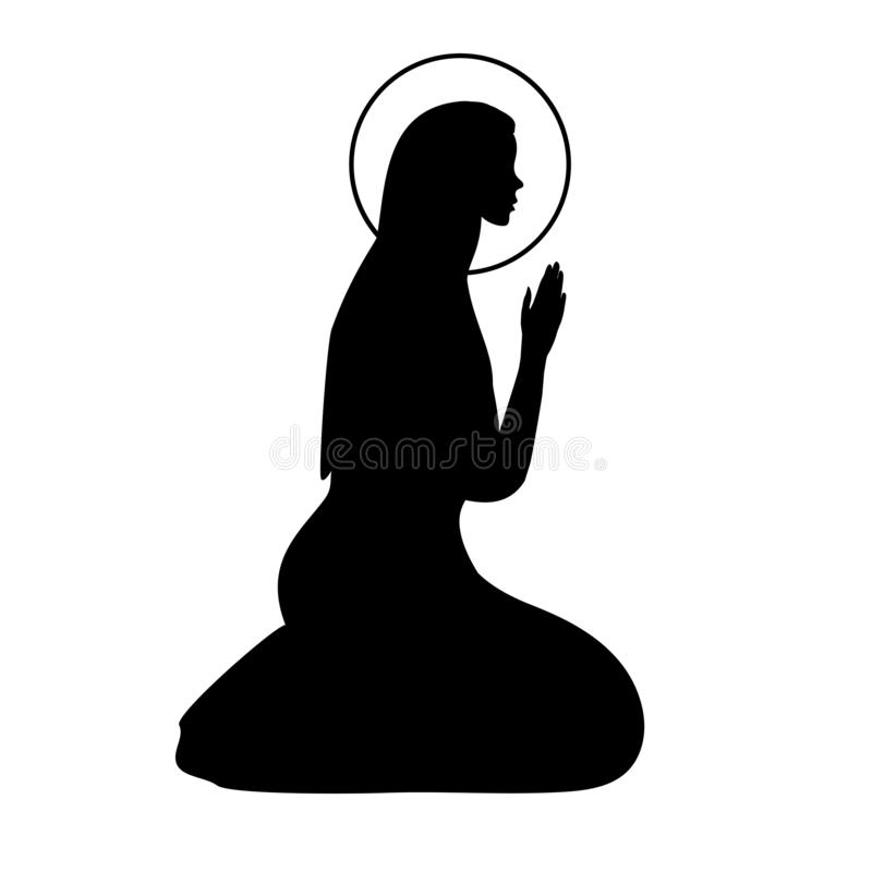 Icon with praying Virgin Mary. Hand drawn outline design element for manger nativity and Christmas scenes royalty free illustration