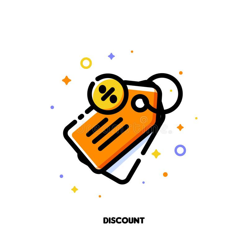 Icon of price tag with percent sign which symbolizes sale or discount for money-saving shopping concept. Flat filled outline style stock illustration