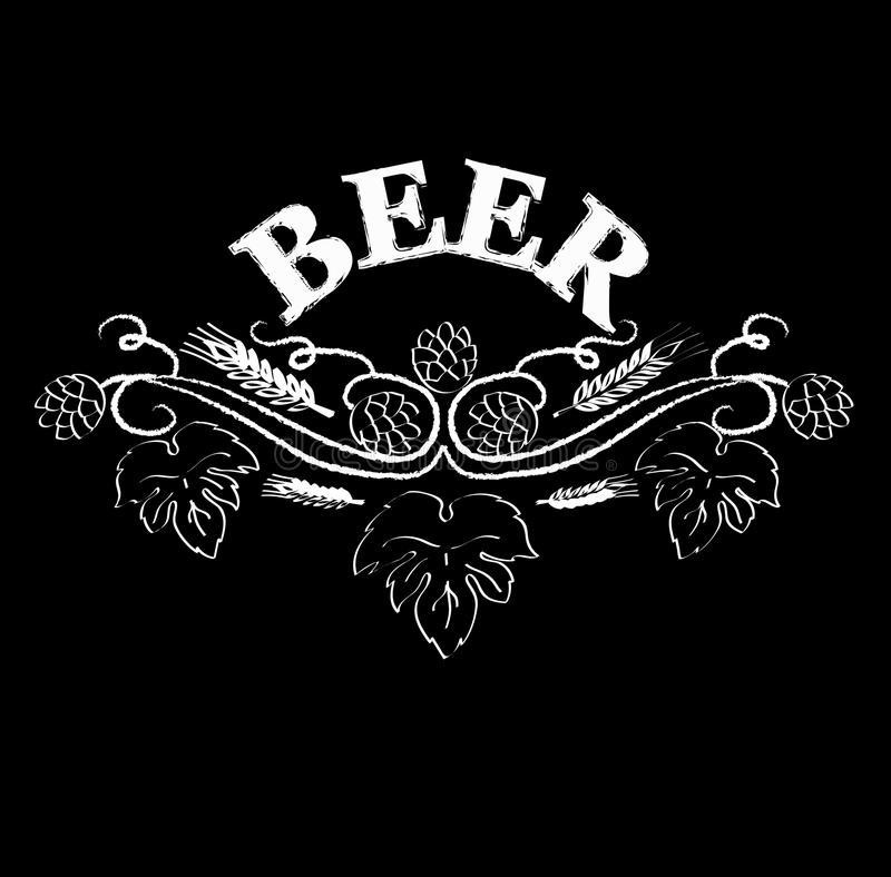 Icon for a pub. The inscription of beer with hops branch. Freehand drawing. Vector illustration. Hand-drawing stock illustration