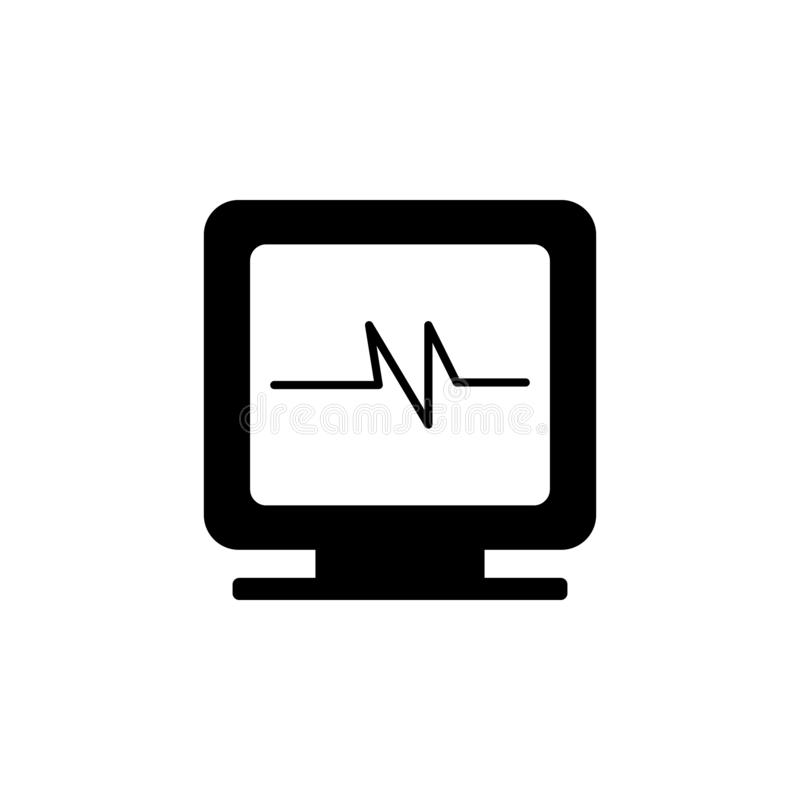 The icon of pulse on the monitor. Simple flat icon illustration, vector of pulse on the monitor for a website or mobile. Application on white background royalty free illustration