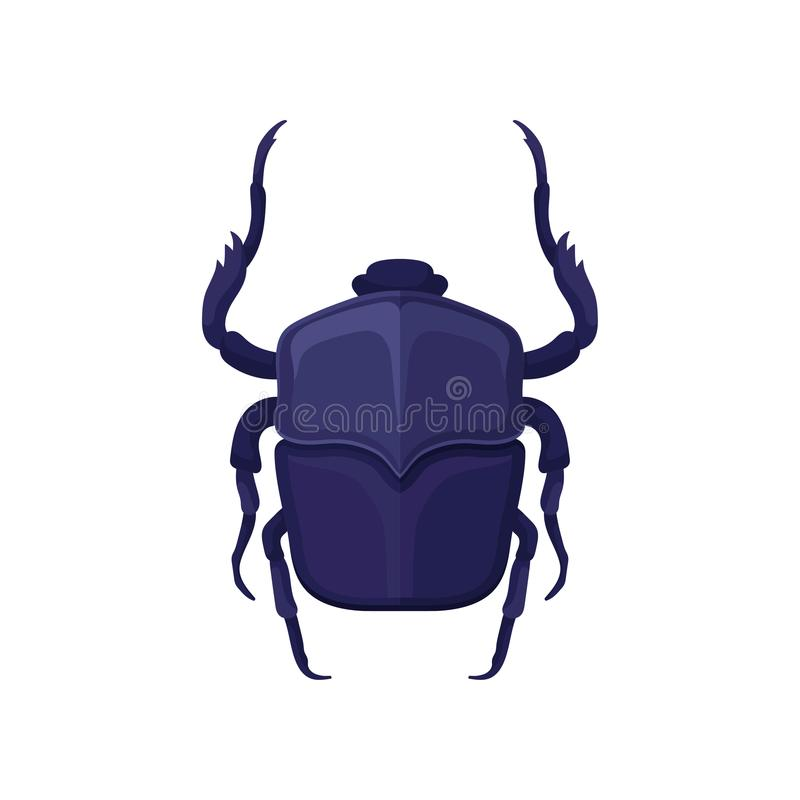 Detailed flat vector icon of purple scarab beetle. Sacred flying insect, symbol associated with ancient Egypt culture royalty free illustration