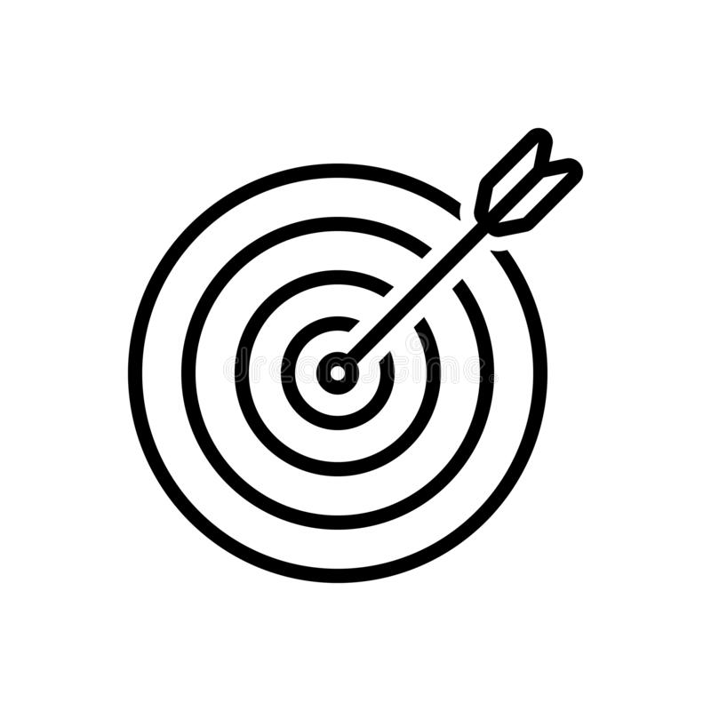 Black line icon for Purpose, objective and aim. Black line icon for Purpose, goal, darts, arrows, target, board,  objective and aim vector illustration