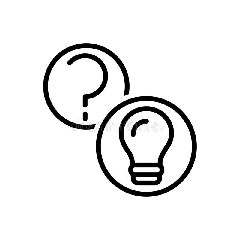 Black line icon for Questions And Answers, question and query royalty free illustration