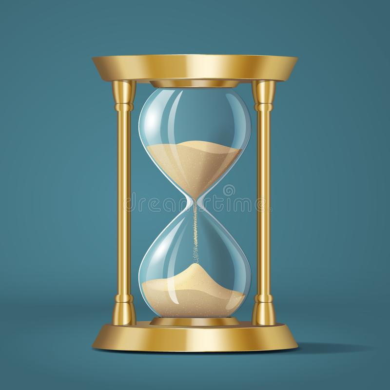 Icon realistic golden bright hourglass, watch with sand, isolated vector illustration