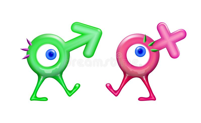 Icon realistic plastic Male and Female cartoon character toy, sign gender in 3d. Vector illustration symbol sexual affiliation. A stock illustration