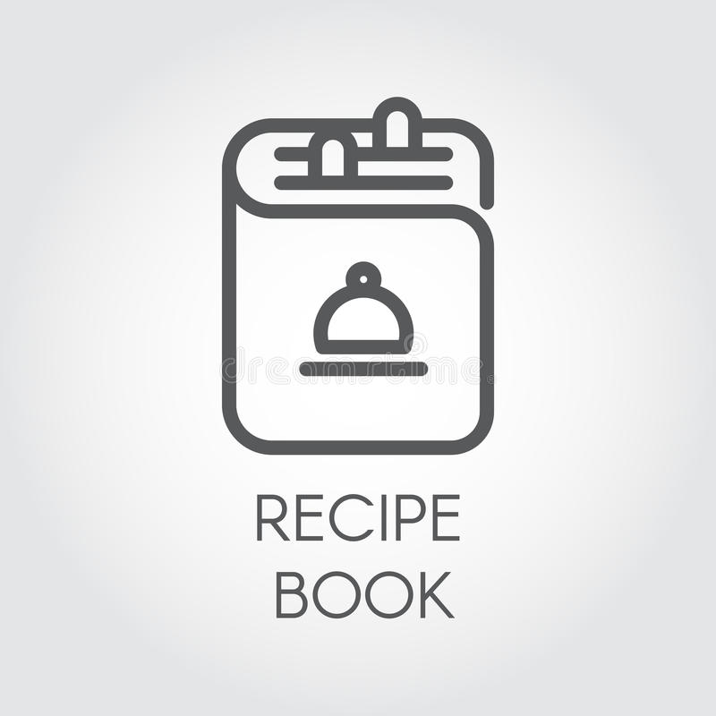 Icon of recipe book drawing in outline design. Cookbook black logo for different culinary projects. Vector illustration stock illustration