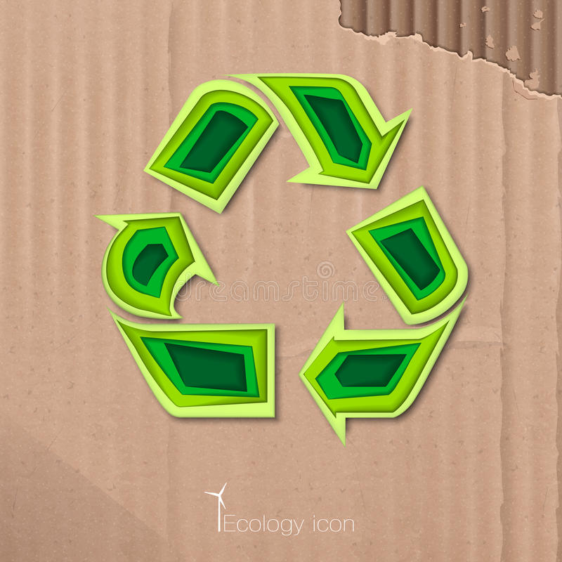 Icon of recycling. Ecological icon of recycling in paper style. ECO. Vector Illustration stock illustration