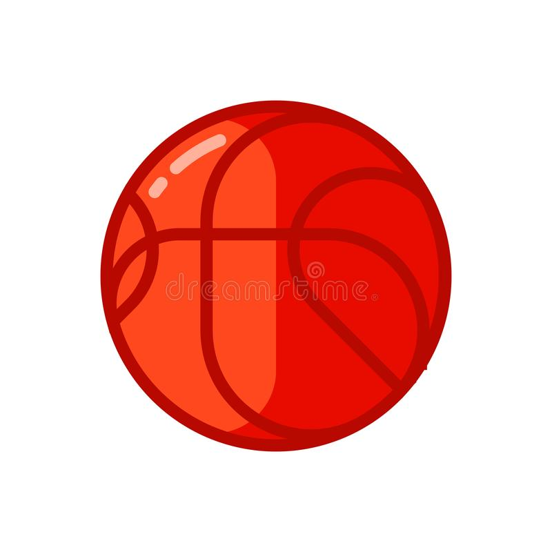 Icon of red basketball ball in flat style. stock illustration