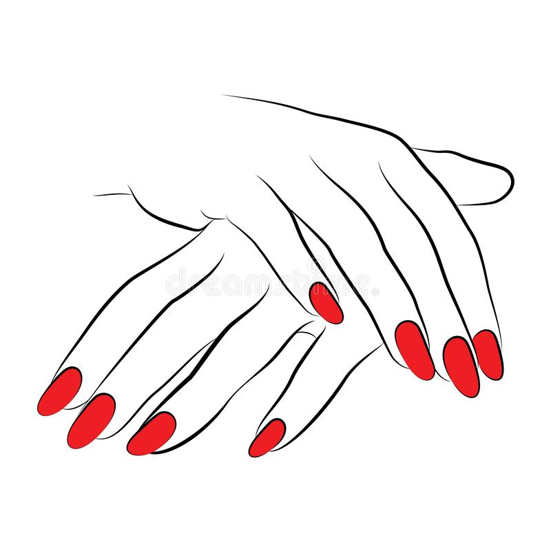Icon with red nails. 2 hands linework manicure vector isolated on a white background hands vector line drawing icon with red nails vector illustration