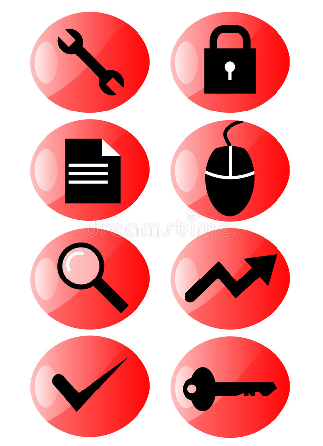 icon red set web иллюстрация штока