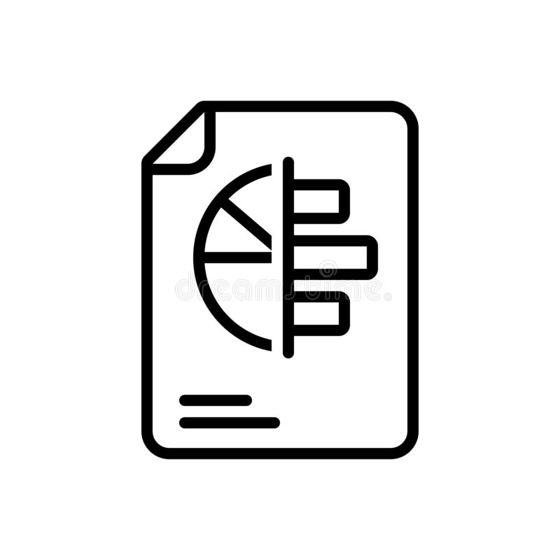 Black line icon for Reports, statistics and marketing royalty free illustration