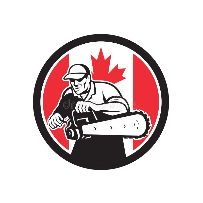 Canadian Tree Surgeon Chainsaw Canada Flag royalty free illustration