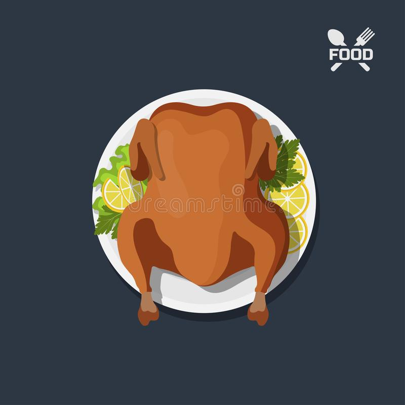 Icon of roasted chicken on plate. Top view. Barbecue dish. Meat`s dinner. Image of christmas turkey stock illustration