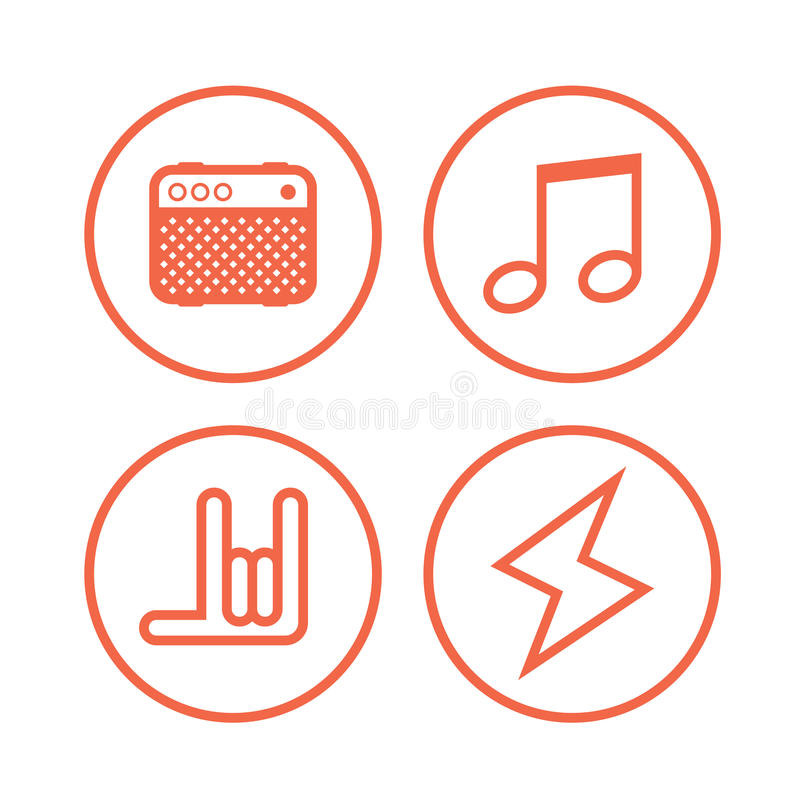 Icon Of Rock Music Symbols Stock Vector Illustration Of Musical