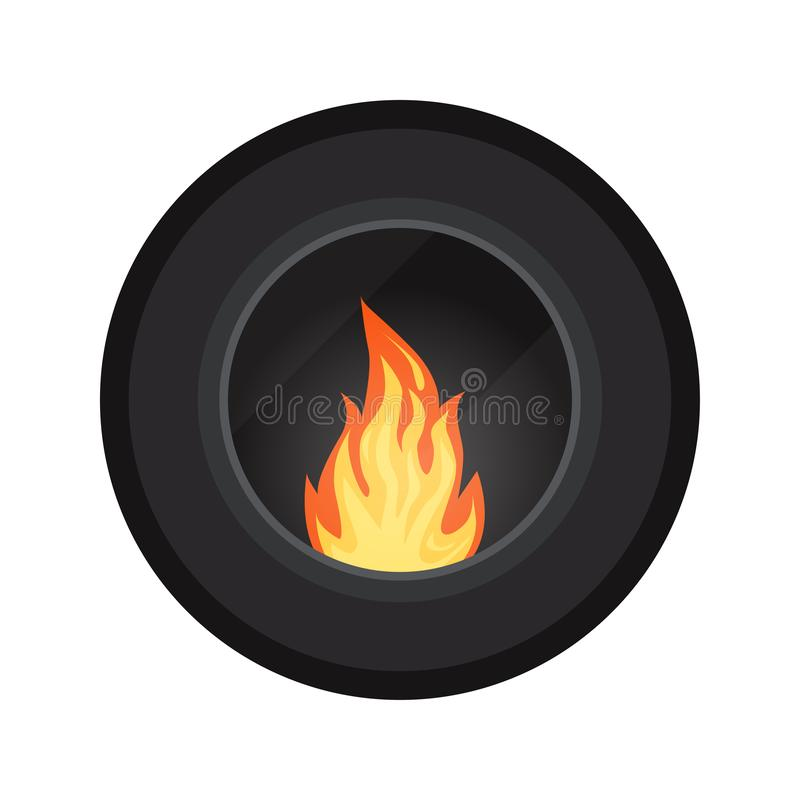 Icon round black modern electric or gas cozy fireburning fireplace isolated on white background, Heating system, Element of winter stock illustration