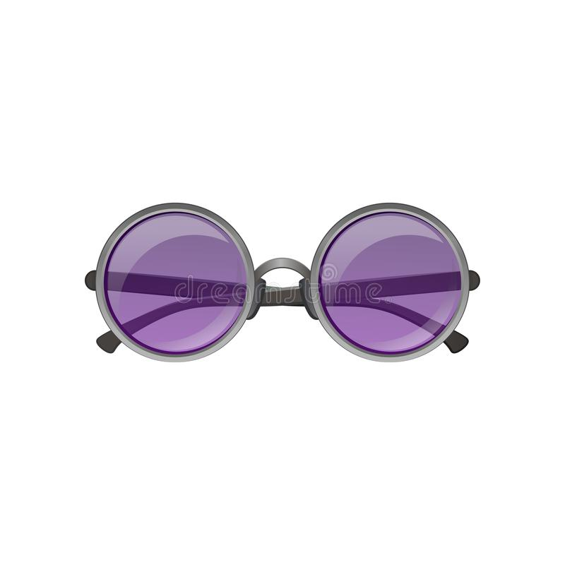Flat vector icon of round sunglasses with gray metal frame and purple tinted lenses. Stylish ladies eyewear royalty free illustration