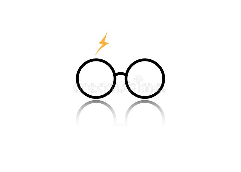 Icon of a round glasses, minimal style, isolated. Or white background royalty free illustration