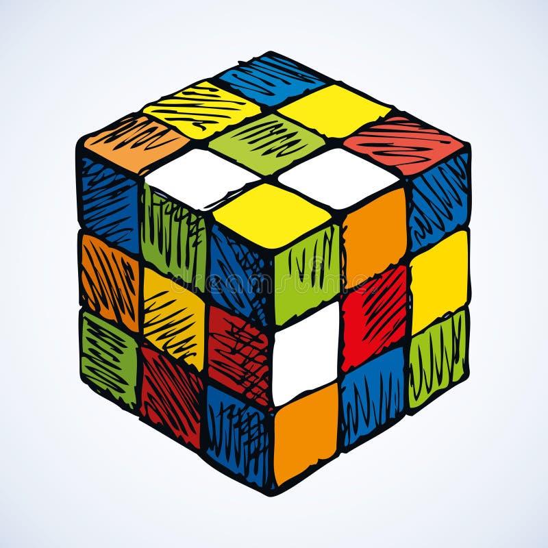 Icon of rubik`s cube. Vector sketch vector illustration